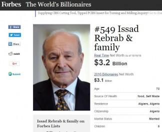 Issad Rebrab, une fortune estimée à 3,1 milliards de dollars.