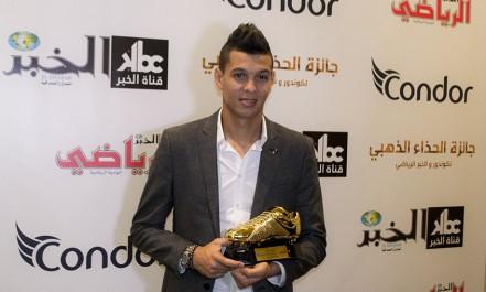 Cérémonie Soulier d'or organisée par El Khabar erriadi et Condor: Mohamed Zaâbia reçoit le soulier d'or 2015-2016