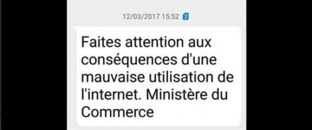 Le ministère du Commerce n'est pas derrière le SMS prévenant contre «une mauvaise utilisation d'internet»