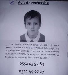 Mystérieuse disparition d'un écolier a Tizi Ouzou