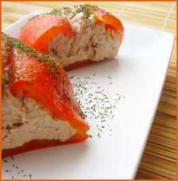 Roulés de poivron rouge aux thon et fromage