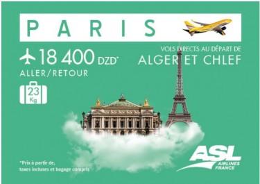 Paris au départ d'Alger et de Chlef avec ASL Airlines France