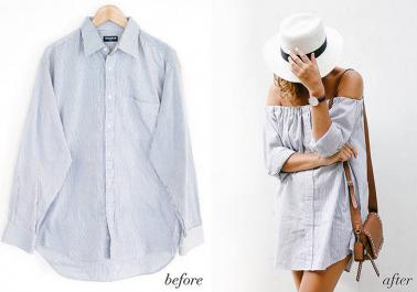 Tuto: Transformer une chemise d'homme en une magnifique robe bardot
