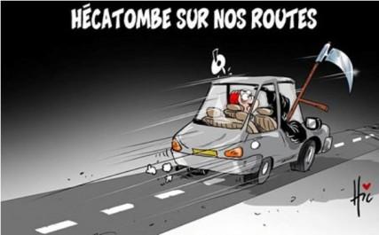 Caricature Le Hic : les routes algériennes, toujours aussi meurtrières