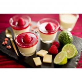 Timbales au chocolat et coulis de fraises
