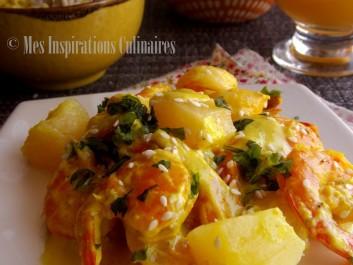 Crevettes a l'ananas et lait de coco