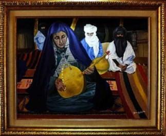 Dounia hedid expose au sofitel : Traditions et femmes déclinées en peinture